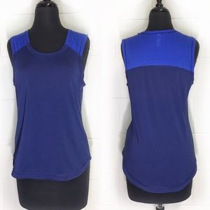Lucy Athletic Wear Two Tone Blue Sleeveless Top